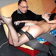 Shameful lady in stockings is taken over the knee with panties down
