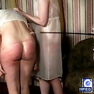 Searing bare assed spanking for maid in the parlour - tears of shame and pain