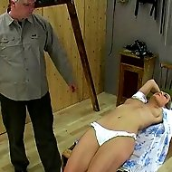 Girl gets her tits flogged