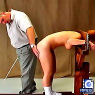 Shannon breaks curfew and gets stripped and locked in the guillotine for the master`s spanking amusement