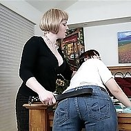 Brunette caught smoking gets spanking on her bed